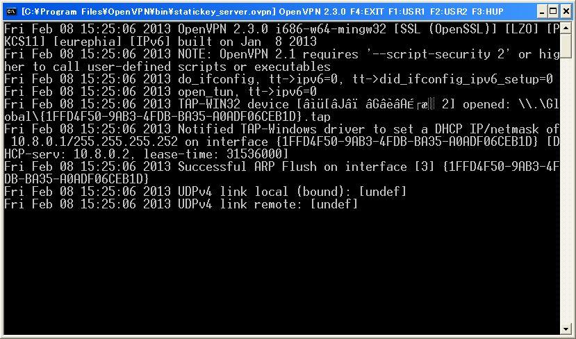 OpenVPNサーバー コンソール
